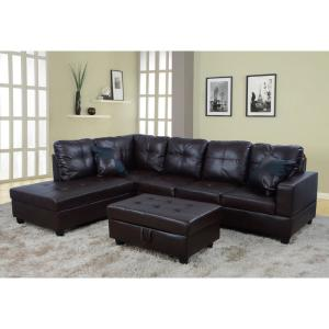 Excellent Brown Faux Leather Left Chaise Sectional With Storage Ottoman Machost Co Dining Chair Design Ideas Machostcouk