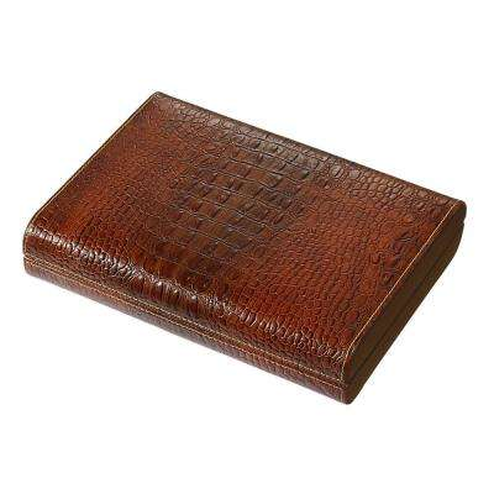 Sobek Brown Leather Desktop Humidor
