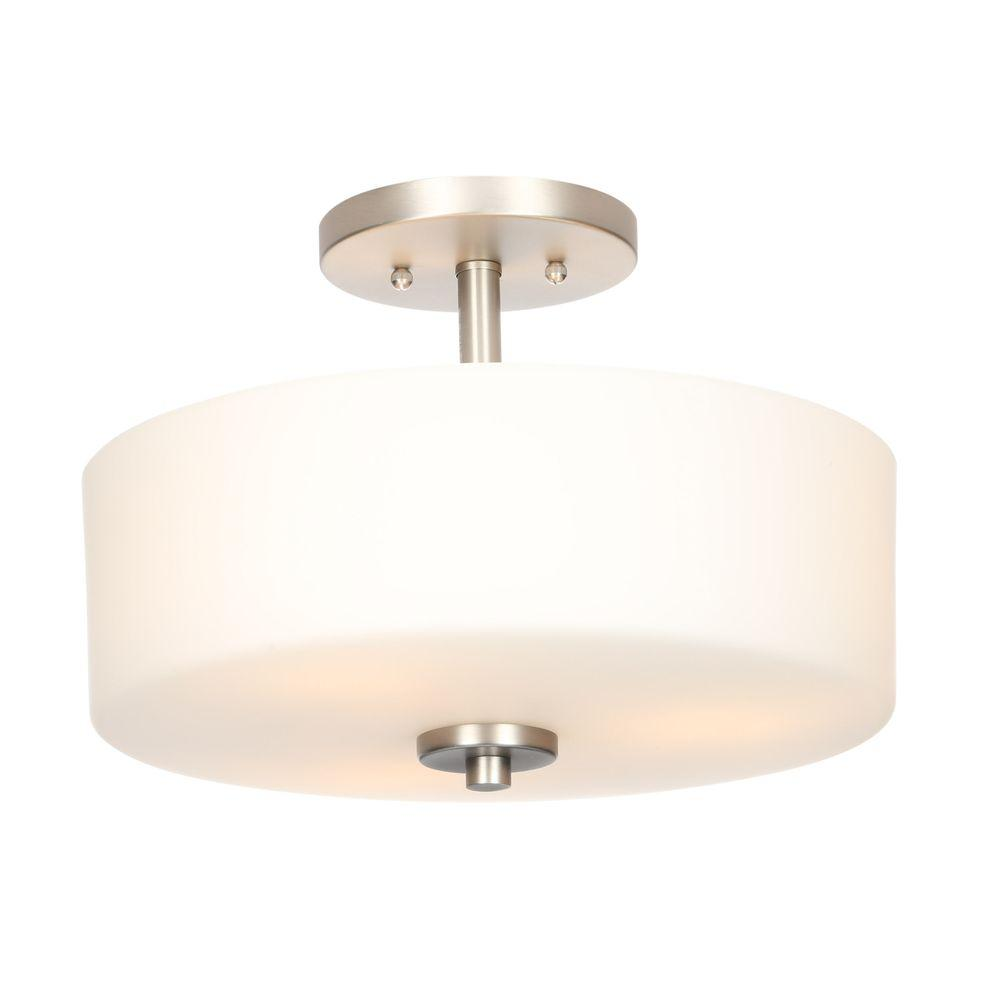 Hampton Bay 14 In 3 Light Brushed Nickel Semi Flush Mount With White Gl Drum Shade