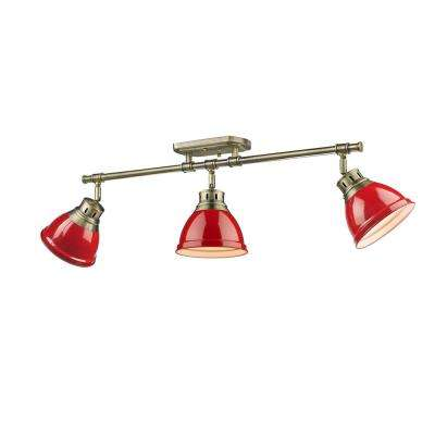 Duncan AB 3-Light Aged Brass Semi-Flush Mount Light