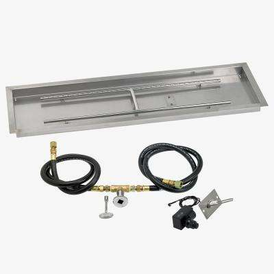 48 in. x 14 in. Rectangular Stainless Steel Drop in Fire Pit Pan with Spark Ignition Kit - Natural Gas