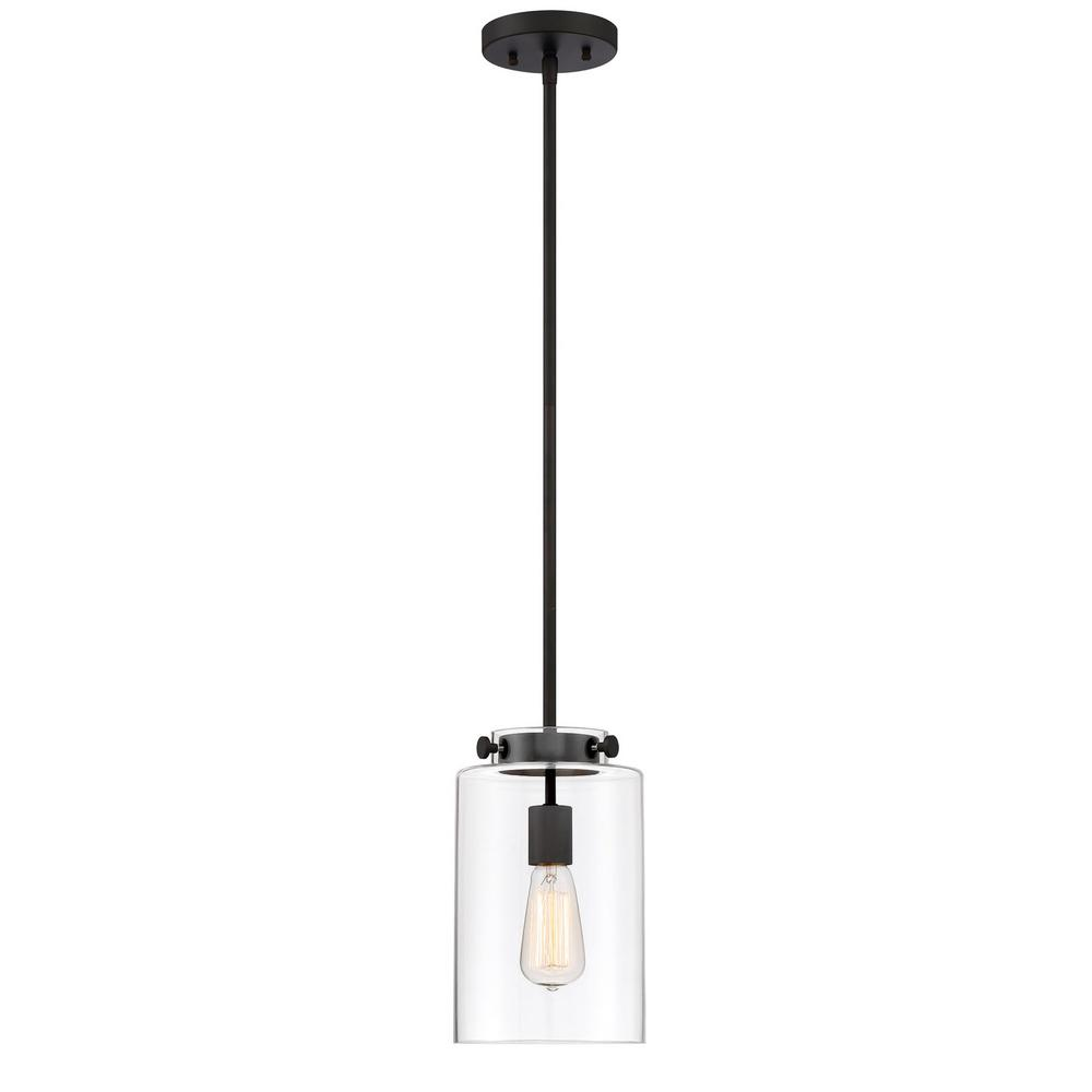 Home Decorators Collection 1-Light Oil Rubbed Bronze Mini Pendant with Clear Glass Shade