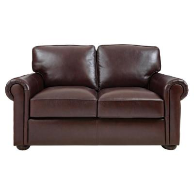 Home Decorators Collection Alwin Chocolate Italian Leather Sofa ...
