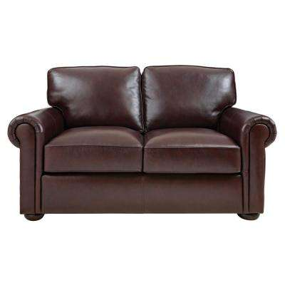 Alwin Chocolate Italian Leather Loveseat Home Decorators
