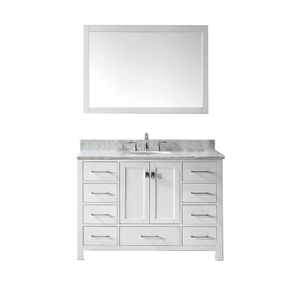 Virtu USA Caroline Avenue 48 in. W x 36 in. H Vanity with Marble Vanity Top in Carrara White with White Round Basin and Mirror