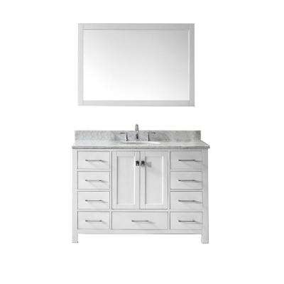Caroline Avenue 48 in. W x 36 in. H Vanity with Marble Vanity Top in Carrara White with White Round Basin and Mirror