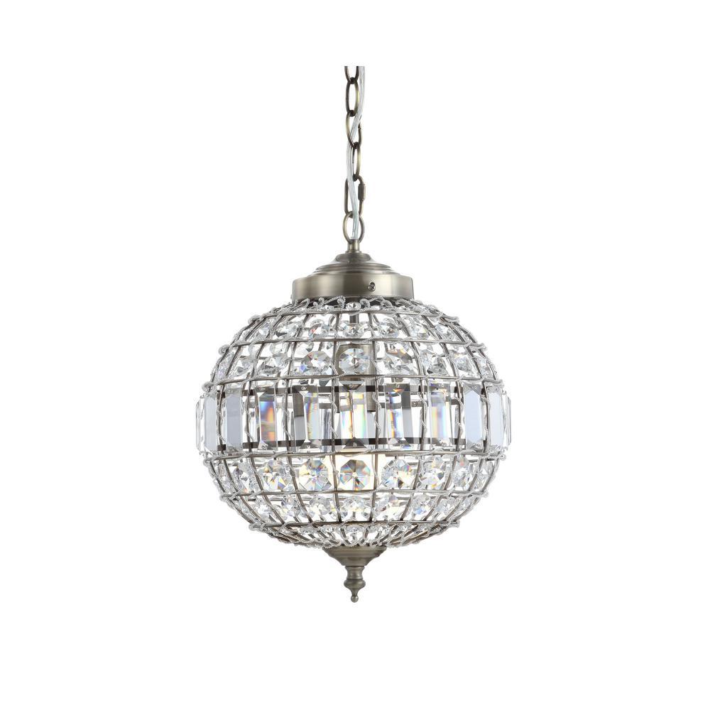 Georgina 12 in. 1-Light Antique Brass Crystal/Metal LED Chandelier Pendant