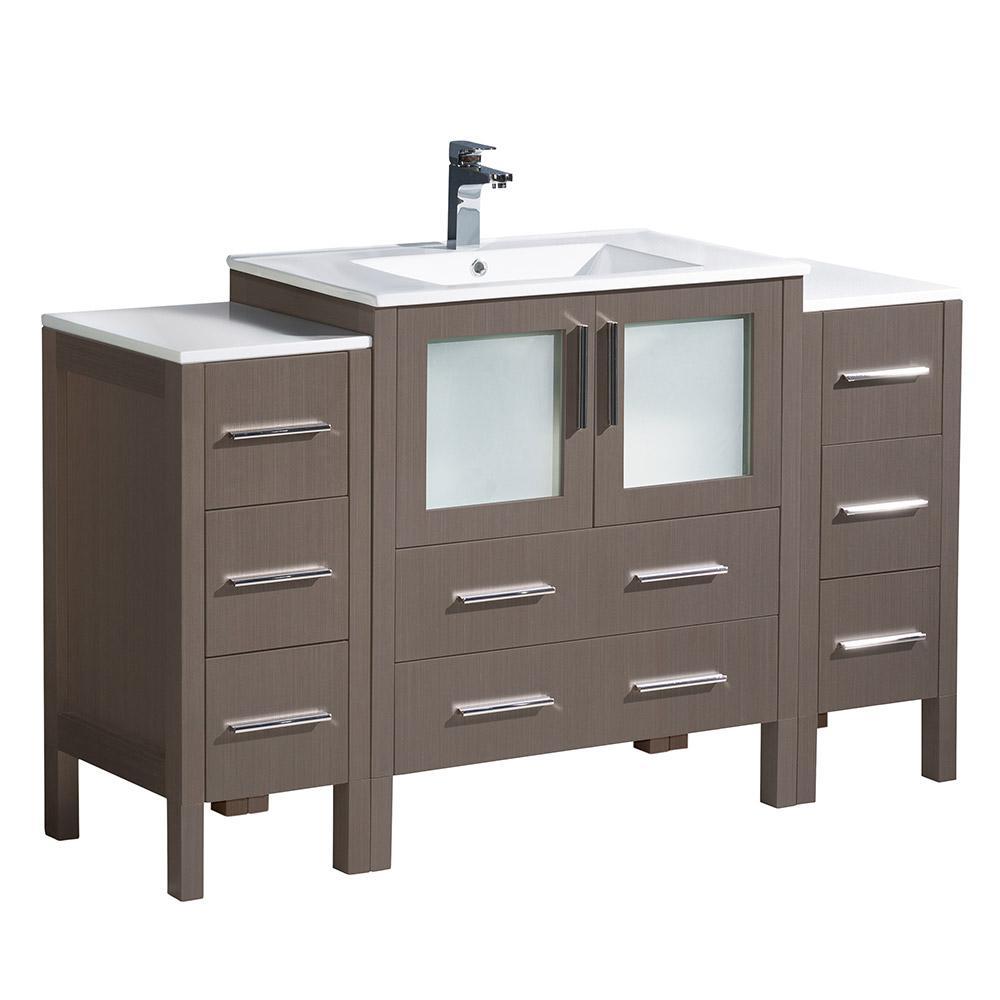 Fresca Torino 54 in. Bath Vanity in Gray Oak with Ceramic Vanity Top in White with White Basin