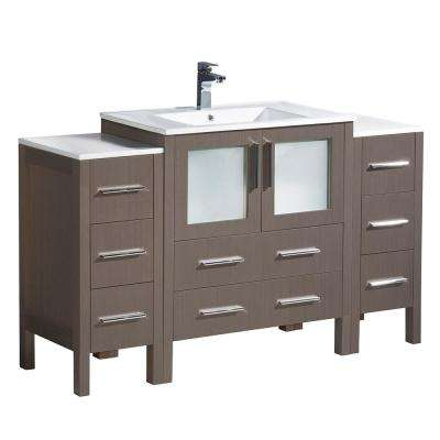 Torino 54 in. Bath Vanity in Gray Oak with Ceramic Vanity Top in White with White Basin