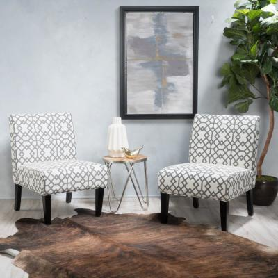 Kassi Gray Geometric-Patterned Fabric Accent Chairs (Set of 2)