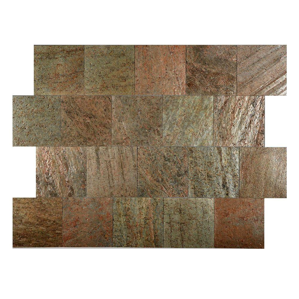 Copper 6 in. x 6 in. Slate Peel and Stick Wall