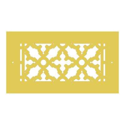 Scroll Series 8 in. x 4 in. Brass Grille, Brass with Mounting Holes
