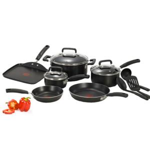 Click here to buy T-Fal Signature Total Non-Stick 12-Piece Cookware Set Aluminum in Black by T-Fal.