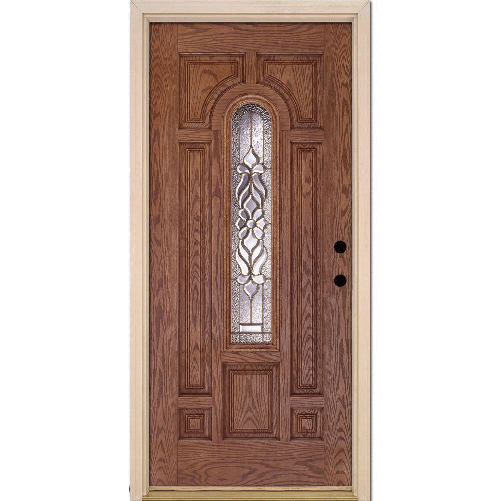 Feather River Doors 37 5 In X 81 625 Lakewood Br Center Arch Lite Stained