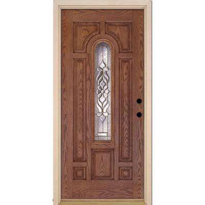 37.5 in. x 81.625 in. Lakewood Brass Center Arch Lite Stained Medium Oak Left-Hand Inswing Fiberglass Prehung Front Door