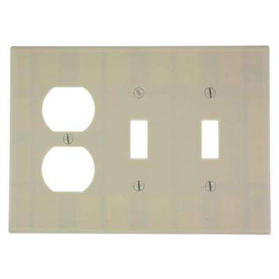 3-Gang Midway Size 2-Toggles 1-Duplex Receptacle Plastic Combination Wall Plate in Ivory