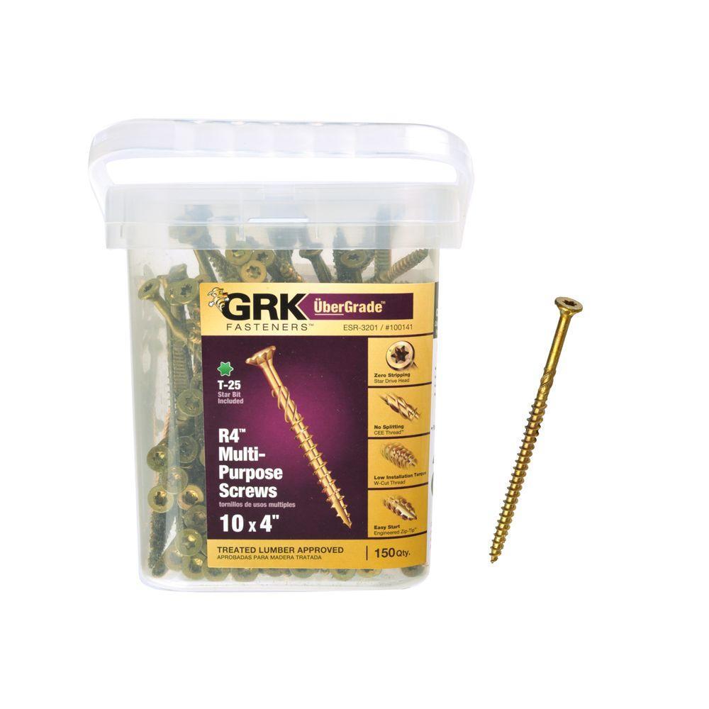 GRK Fasteners #10 x 4 in. Star Drive Bugle Head R4 Multi-Purpose Wood Screw (150-Pack)
