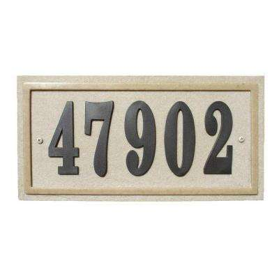 Ridgestone Rectangular Crushed Stone Address Plaque in Sandstone Stone Color