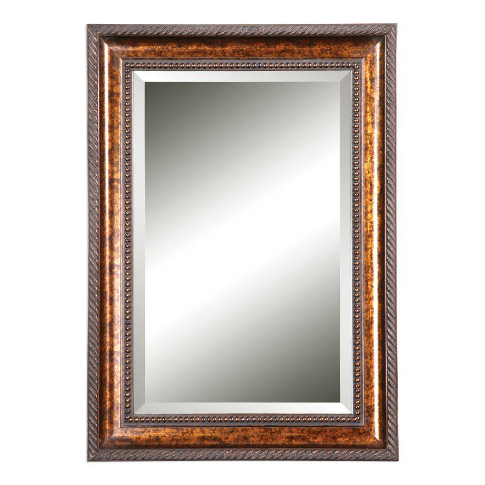 Medium Rectangle Brown Mirror (35.12 in. H x 25.12 in. W)