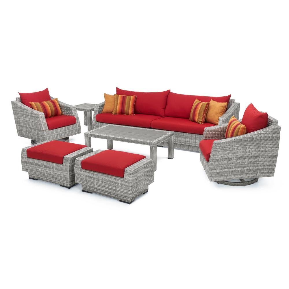 Rst Brands Cannes 8 Piece All Weather Wicker Patio Deluxe Sofa And Club Chair