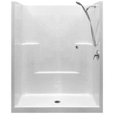 Standard-SA 33 in. x 60 in. x 77 in. 1-Piece Low Threshold Shower Stall in White with RHS Shower Kit and Center Drain