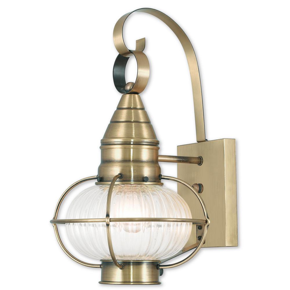 Livex Lighting Newburyport 1-Light Antique Brass Outdoor ...
