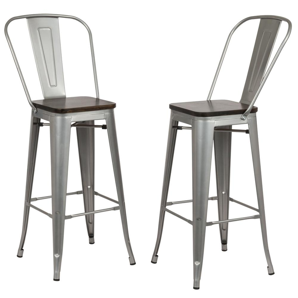 Carolina Forge Ash 30 In Silver Wood Seat Bar Stool Set Of 2 Th