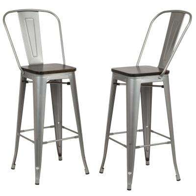 Ash 30 in. Silver Wood Seat Bar Stool (Set of 2)