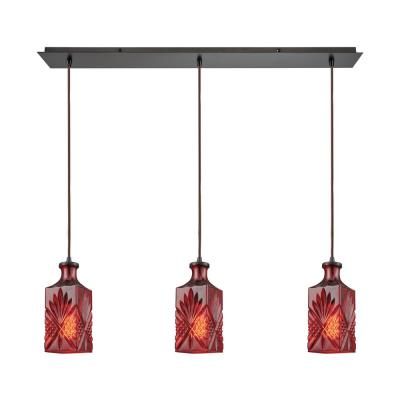 Giovanna 3-Light Linear Pan in Oil Rubbed Bronze with Wine Red Decanter Glass Pendant