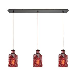 Click here to buy Titan Lighting Giovanna 3-Light Linear Pan in Oil Rubbed Bronze with Wine Red Decanter Glass Pendant by Titan Lighting.