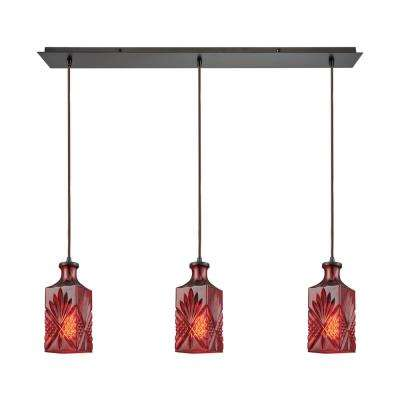 Titan Lighting Giovanna 3-Light Linear Pan in Oil Rubbed Bronze with Wine Red Decanter Glass Pendant by Titan Lighting