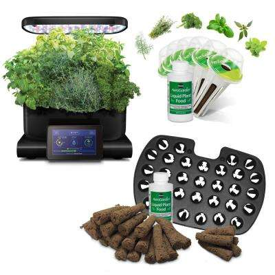 AeroGarden Harvest Touch, Black with Gourmet Herbs Seed Pod Kit and Bonus Seed Starter System