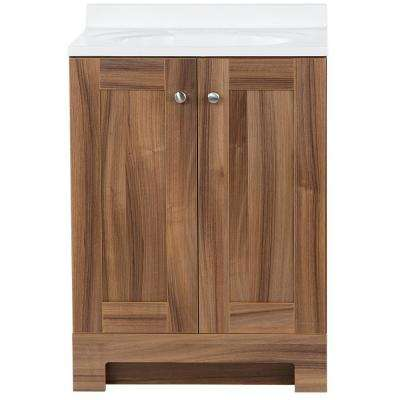 24 in. W x 19 in. D x 35.59 in. H Vanity in Caramel Mist with Cultured Marble Vanity Top in White with White Sink