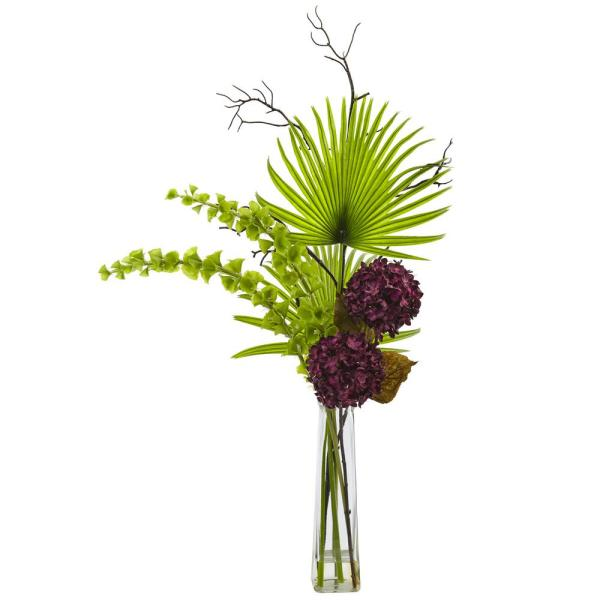 Nearly Natural Hydrangea, Bells of Ireland and Palm Frond Arrangement 1435-PP