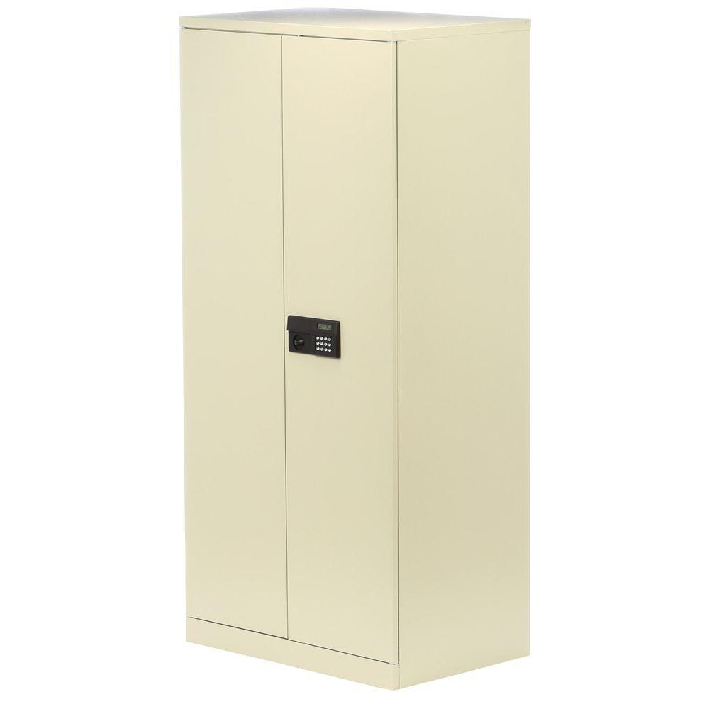 Sandusky 78 in. H x 36 in.W x 24 in. D 5-Shelf Steel Quick Assembly Keyless Electronic Coded Storage Cabinet in Putty