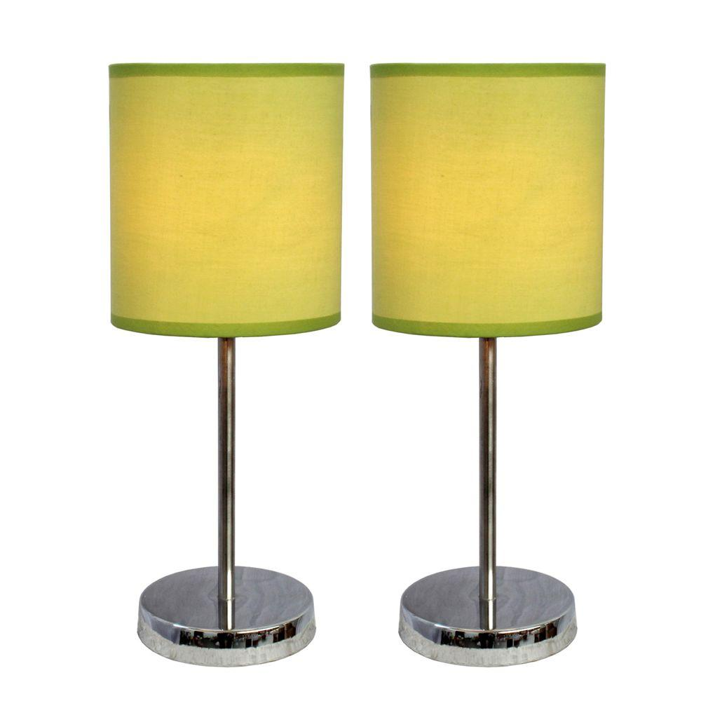 11.89 in. Chrome Mini Basic Table Lamps with Green Fabric Shades (2-Pack)