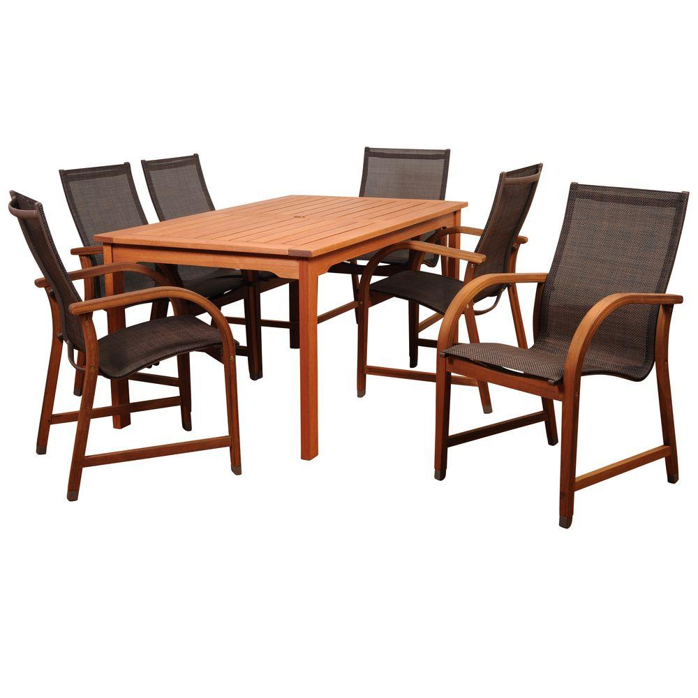 Bahamas 7-Piece Eucalyptus Rectangular Patio Dining Set with Brown Sling Seat
