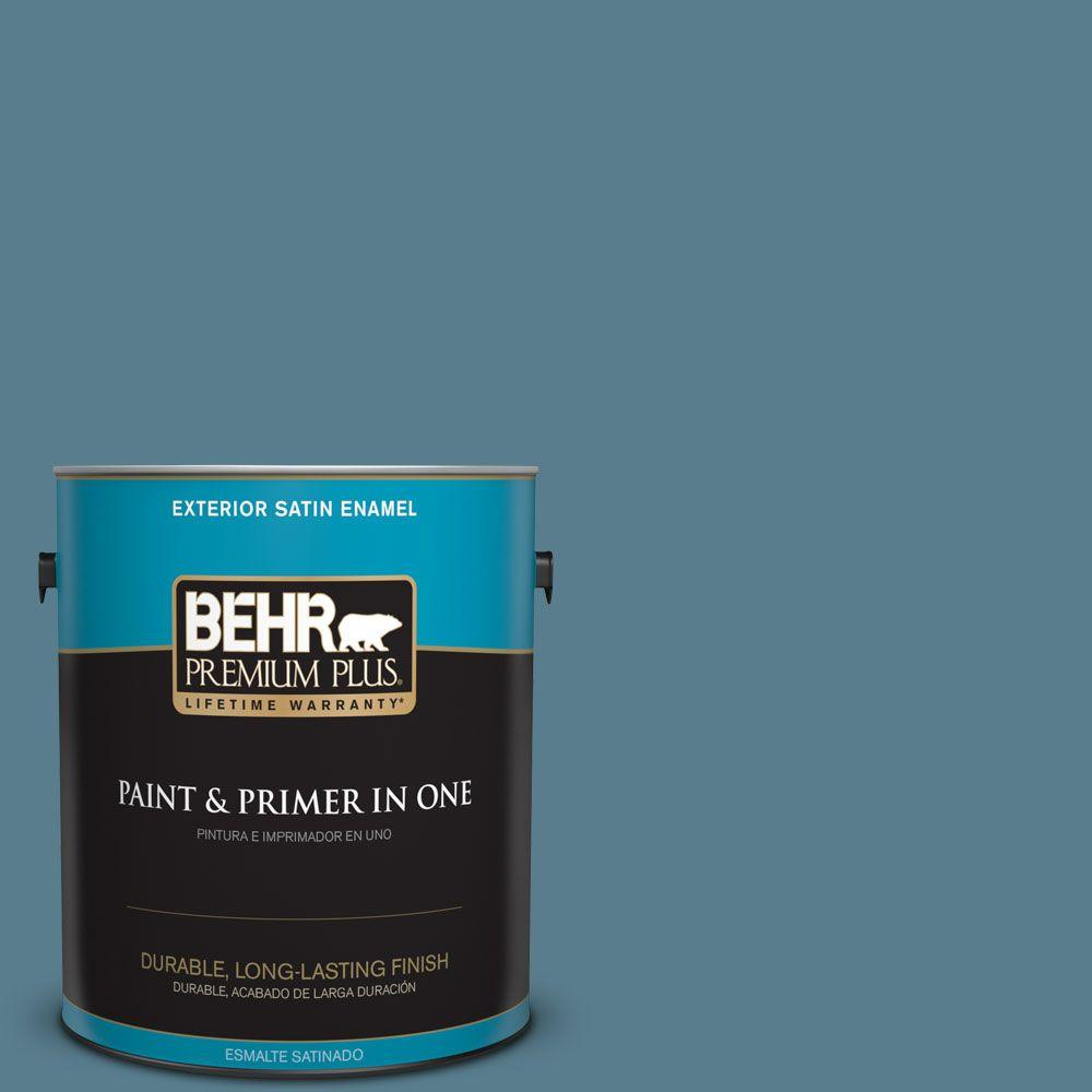 1 gal. #HDC-FL14-11 Cotton Denim Satin Enamel Exterior Paint