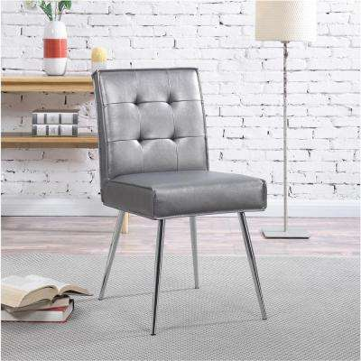 Amity Sizzle Pewter Fabric Tufted Dining Chair