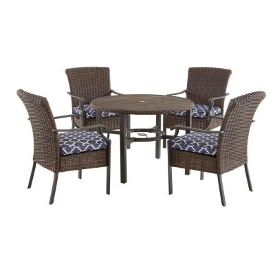 Harper Creek Brown 5-Piece Steel Outdoor Patio Dining Set with CushionGuard Midnight Trellis Navy Blue Cushions