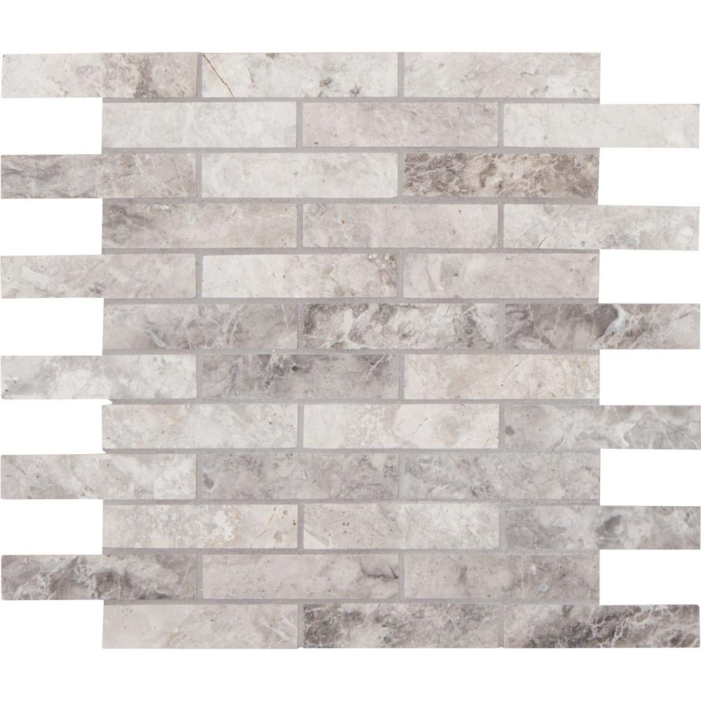 MSI Tundra Gray Interlocking 12 in. x 12 in. x 10 mm Polished Marble Mesh-Mounted Mosaic Floor and Wall Tile