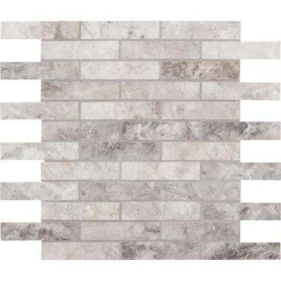 Tundra Gray Interlocking 12 in. x 12 in. x 10mm Polished Marble Mosaic Tile (10 sq. ft. / case)