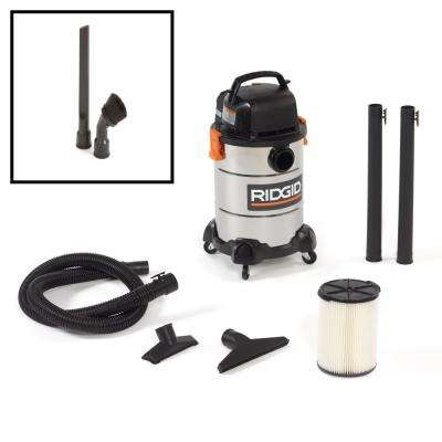 6 gal. 4.25-Peak HP Stainless Steel Wet Dry VAC with Bonus Crevice Tool and Dusting Brush