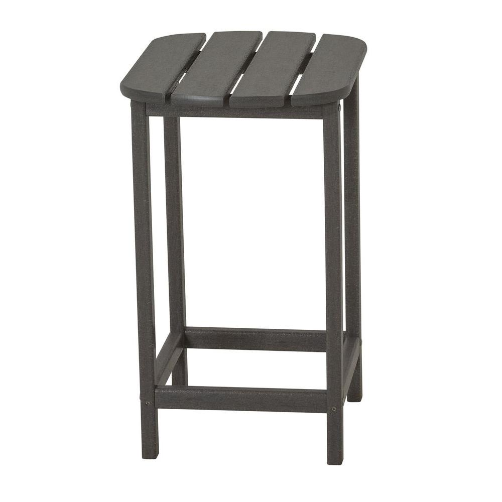 Polywood South Beach 26 In Slate Grey Patio Counter Side Table