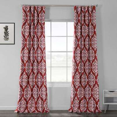 Cameo Red Printed Linen Textured Blackout Curtain - 50 in. W x 120 in. L (1-Panel)