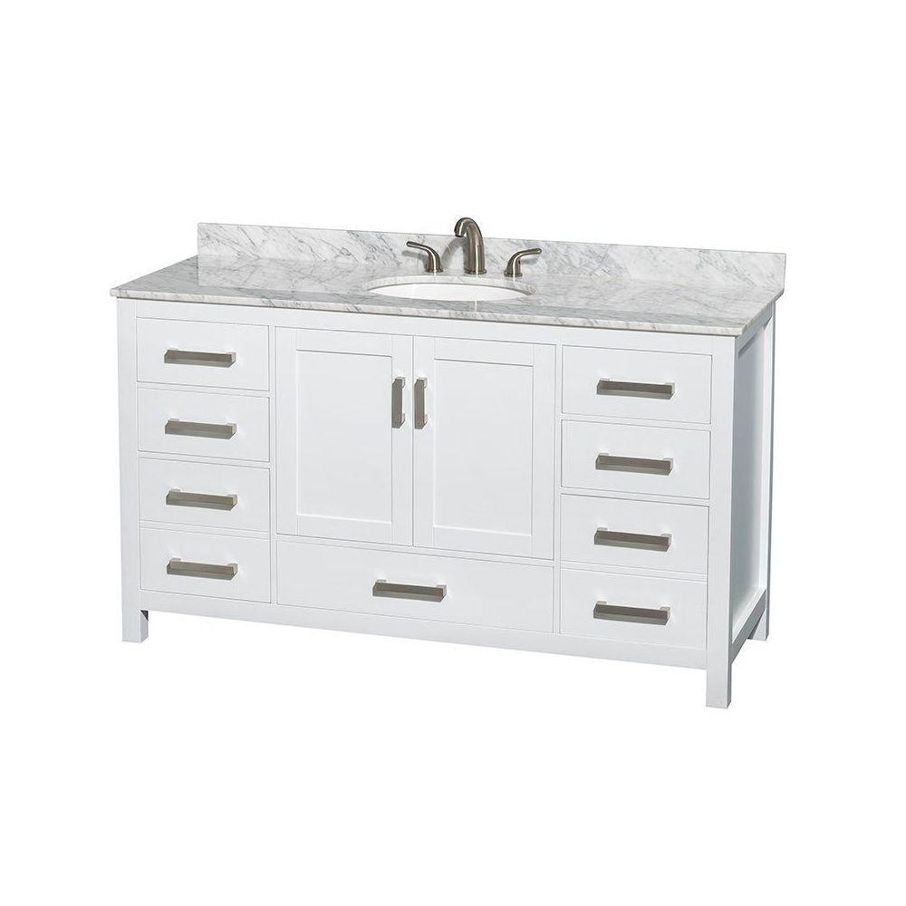 Wyndham Collection Sheffield 60 In Vanity In White With