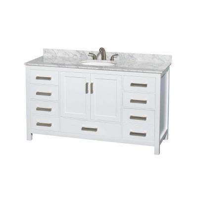 Sheffield 60 in. Vanity in White with Marble Vanity Top in Carrara White