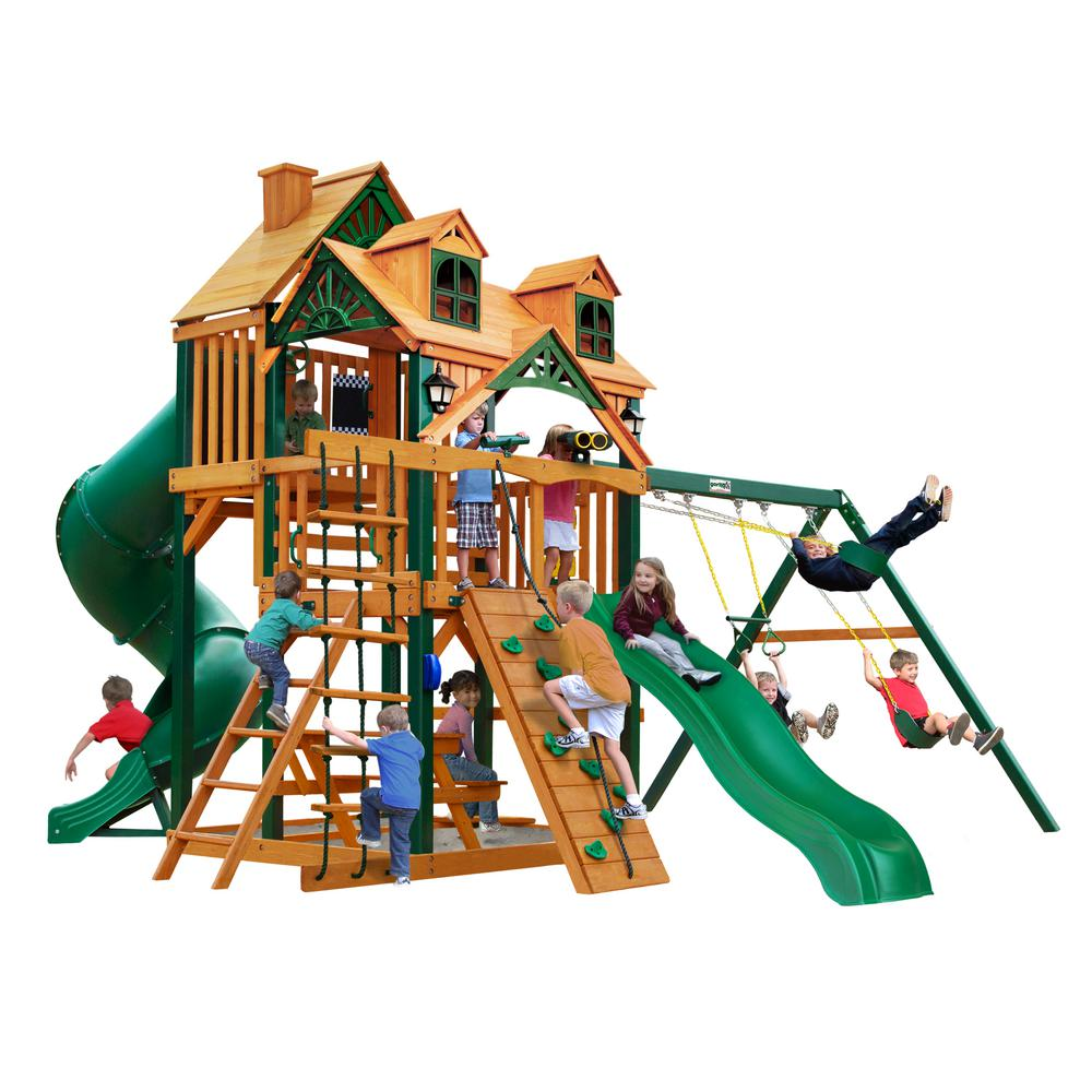 Gorilla playsets great skye i cedar swing set with malibu for Gorilla playsets