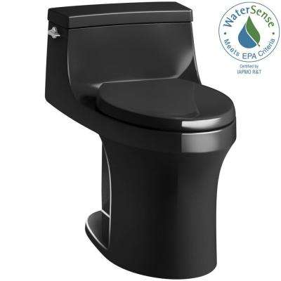 San Souci 1-piece 1.28 GPF Single Flush Elongated Toilet in Black Black, Seat Included