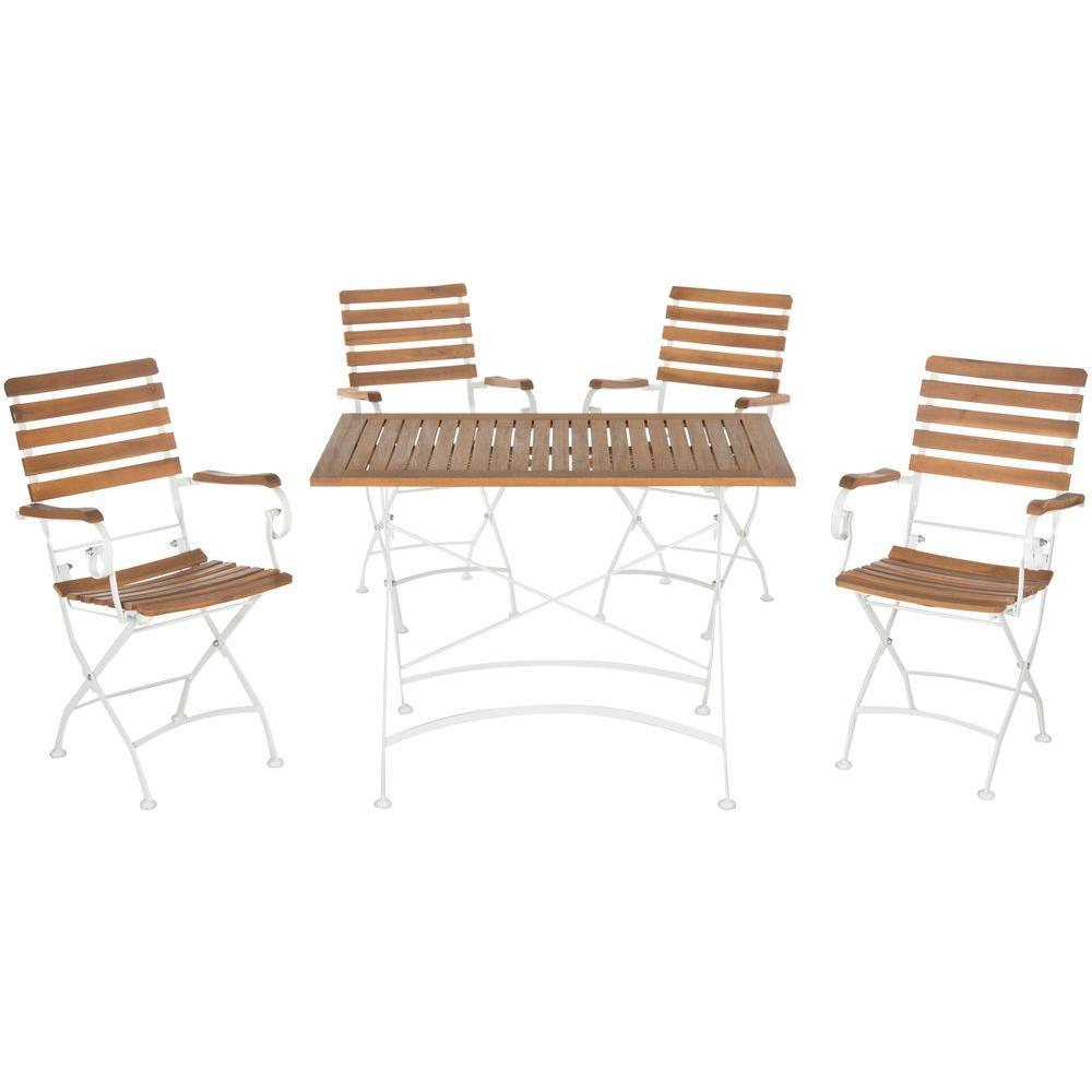 Safavieh Lawndale Teak Brown 5-Piece Wood Outdoor Dining Set